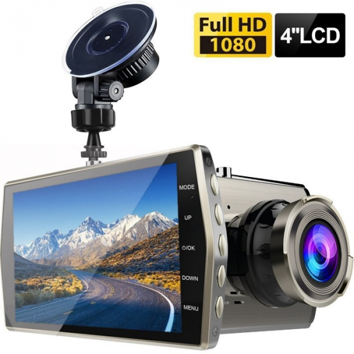 "Camera Video Auto DVR Dubla FullHD Techstar® T667 Unghi 170° Display 4"" 1"