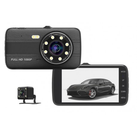 CAMERA VIDEO AUTO NOVATEK T800 DUBLA 8 LED-URI INFRAROSU FULL HD 0