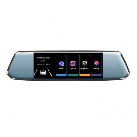 "CAMERA VIDEO AUTO TIP OGLINDA DVR TECHSTAR® 7"" FULLHD 1080P, DUALLENS CU MARSARIER SI TOUCHSCREEN 4"