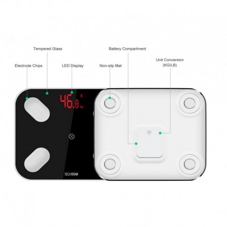 CANTAR ELECTRONIC SMART TECHSTAR® NEGRU DISPLAY DIGITAL WIRELESS BLUETOOTH GREUTATE 180KG MAX COMPATIBIL ANDROID & IOS 2