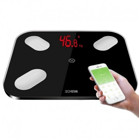 CANTAR ELECTRONIC SMART TECHSTAR® NEGRU DISPLAY DIGITAL WIRELESS BLUETOOTH GREUTATE 180KG MAX COMPATIBIL ANDROID & IOS 1