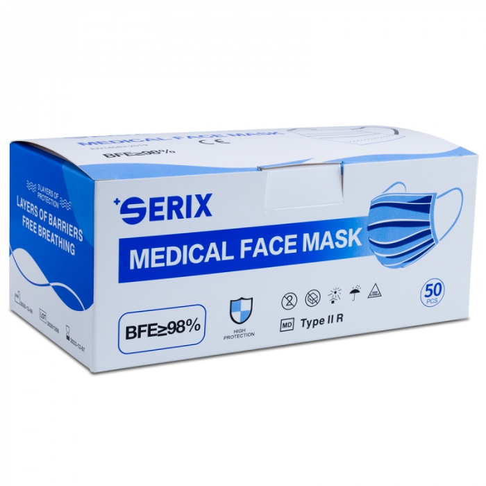 Masca medicala 3 straturi TYPE IIR banda metalica 50buc [0]