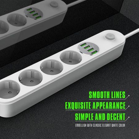 Prelungitor LDNIO cu 4 prize 220V si 4 mufe USB maxim 3.4A 4