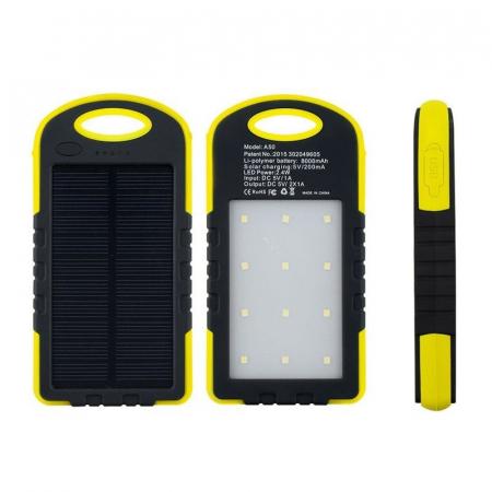 Baterie extern Powerbank cu incarcare solara si lanterna 5000mAh0