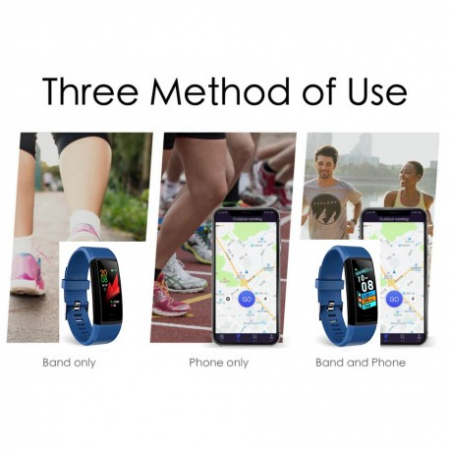 "Bratara Fitness Smartband Techstar® T12 Waterproof IP65, Bluetooth 4.2, Compatibila Android & IOS, Display TFT 1.14"", Albastru5"