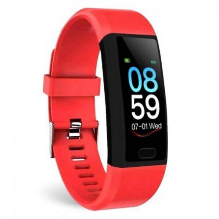 "Bratara Fitness Smartband Techstar® T12 Waterproof IP65, Bluetooth 4.2, Compatibila Android & IOS, Display TFT 1.14"", Rosu [0]"