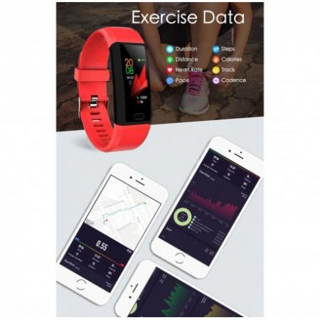 "Bratara Fitness Smartband Techstar® T12 Waterproof IP65, Bluetooth 4.2, Compatibila Android & IOS, Display TFT 1.14"", Rosu4"