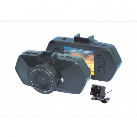 "Camera Video Auto Dubla, Obiectiv 120° Superangular FullHD 1080p Techstar® RLDV 204, Ecran 2""5"