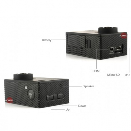 Camera Sport S5000 Ecran 2 Inch Subacvatica FullHD 1080P 12MPx Black EXSports3