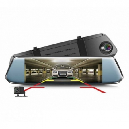 "CAMERA VIDEO AUTO TIP OGLINDA DVR TECHSTAR® 7"" FULLHD 1080P, DUALLENS CU MARSARIER SI TOUCHSCREEN1"