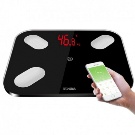 CANTAR ELECTRONIC SMART TECHSTAR® NEGRU DISPLAY DIGITAL WIRELESS BLUETOOTH GREUTATE 180KG MAX COMPATIBIL ANDROID & IOS1
