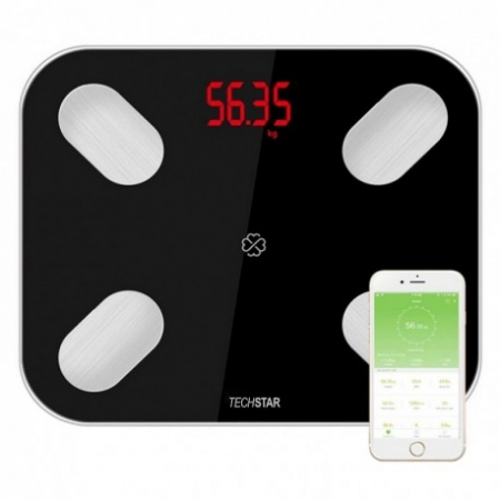 CANTAR ELECTRONIC SMART TECHSTAR® NEGRU DISPLAY DIGITAL WIRELESS BLUETOOTH GREUTATE 180KG MAX COMPATIBIL ANDROID & IOS0
