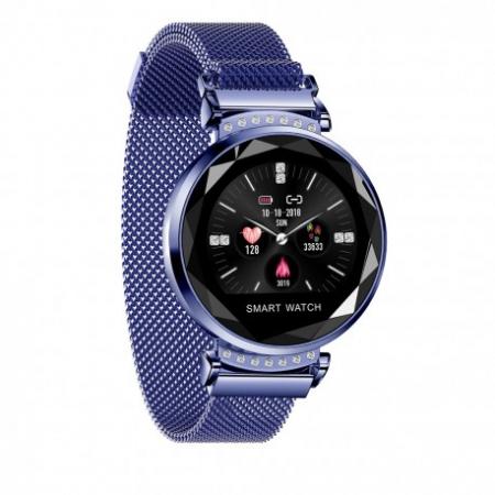 Smartwatch Fitness Sport Albastru Elegant Pentru Dama Techstar® H2 Cu Monitorizare Somn Si Cardiaca1
