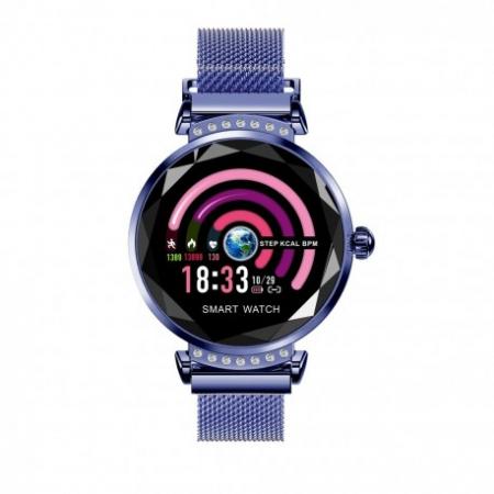 Smartwatch Fitness Sport Albastru Elegant Pentru Dama Techstar® H2 Cu Monitorizare Somn Si Cardiaca0