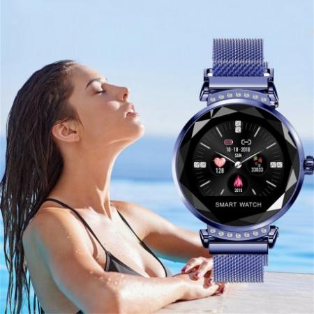 Smartwatch Fitness Sport Albastru Elegant Pentru Dama Techstar® H2 Cu Monitorizare Somn Si Cardiaca2