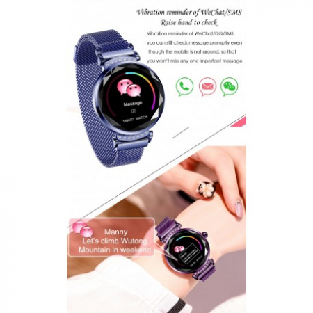 Smartwatch Fitness Sport Albastru Elegant Pentru Dama Techstar® H2 Cu Monitorizare Somn Si Cardiaca4