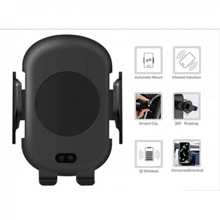 SUPORT INCARCATOR TELEFON AUTO SMART WIRELESS TECHSTAR® C10 TEHNOLOGIE INFRAROSU QI QUICKCHARGE 3.0 10W ANDROID IOS5