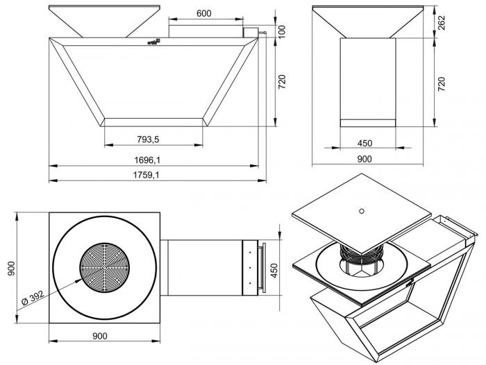 Gratar gradina fire pit G4 graphite [1]