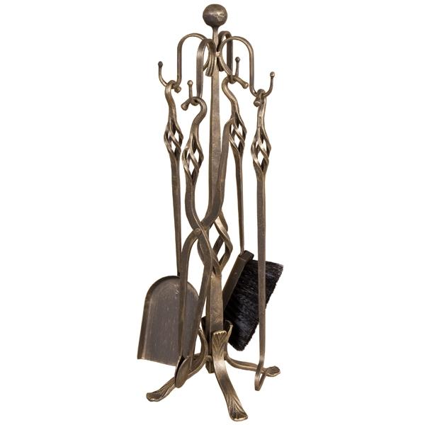 Set vatrai semineu Evita - fier forjat, cu patina, 4 accesorii 0