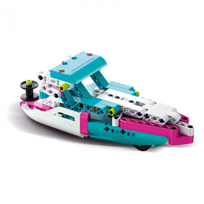 Set constructie Clementoni, Yacht si Speed Boat, 130 piese, 2 modele posibile, pentru copii de peste 8 ani 1