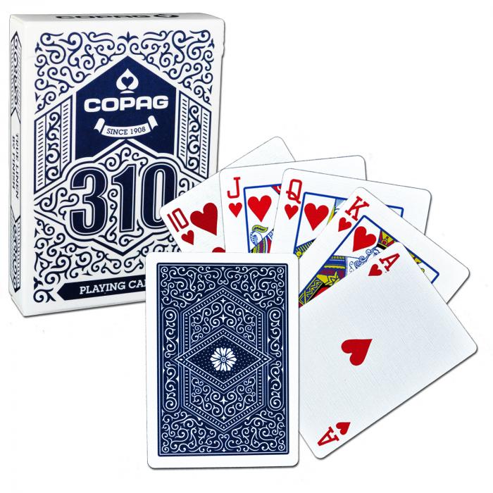 Carti de joc Copag 310 Regular, extrafinisate, culoare spate albastru, recomandate pentru jucatori, mentalisti si magicieni 0