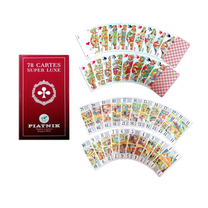 """Carti de joc Piatnik """"Tarot Super Luxe"""", culoare spate rosu burberry, produse in Austria - Copie [0]"""