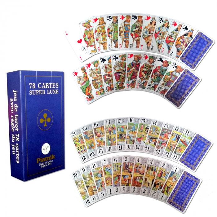 """Carti de joc Piatnik """"Tarot Super Luxe"""", culoare spate albastru/auriu, produse in Austria [0]"""