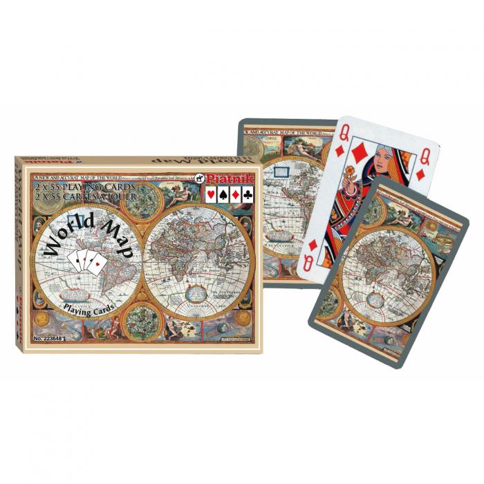 Carti de joc Piatnik (Austria), World Map, 2 pachete in cutie de lux [0]