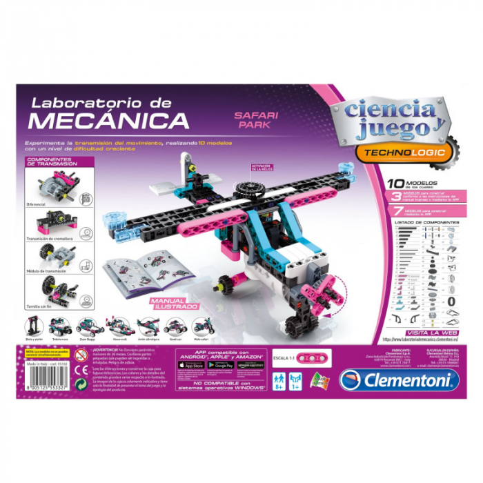 Set constructie Clementoni, Laboratorul de mecanica - Safari Park, 200 piese, 10 modele posibile, pentru copii de peste 8 ani [1]