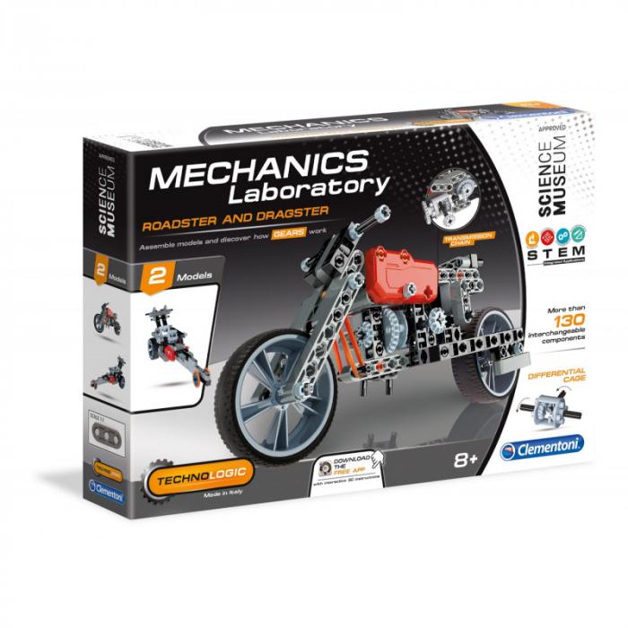 Set constructie Clementoni, 2 in 1, Motocicleta Roadster si Dragster, 130 piese, pentru copii de peste 8 ani 0