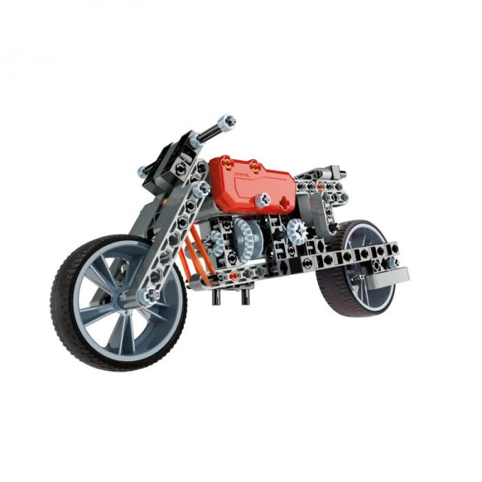 Set constructie Clementoni, 2 in 1, Motocicleta Roadster si Dragster, 130 piese, pentru copii de peste 8 ani 1