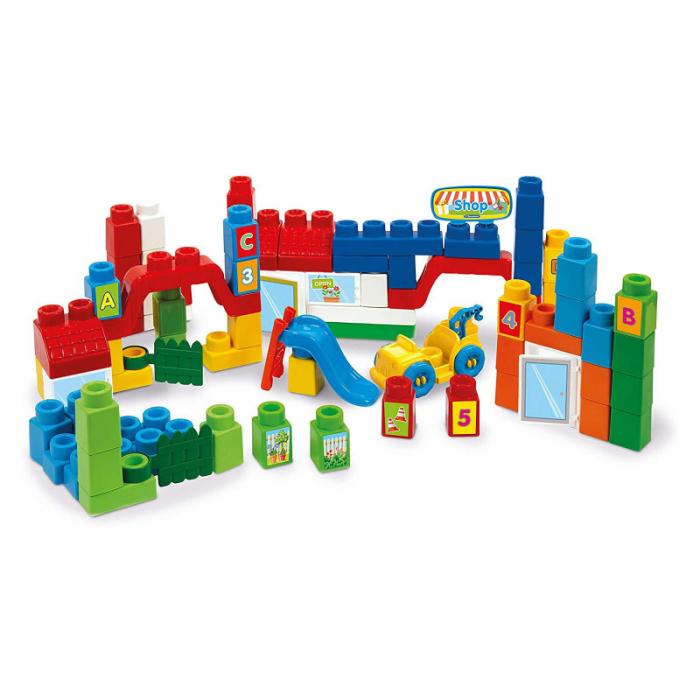 """Set constructie creativ, Clementoni (Italia), """"Clemmy Plus"""", 80 cuburi soft, pentru copii de peste 18 luni [1]"""