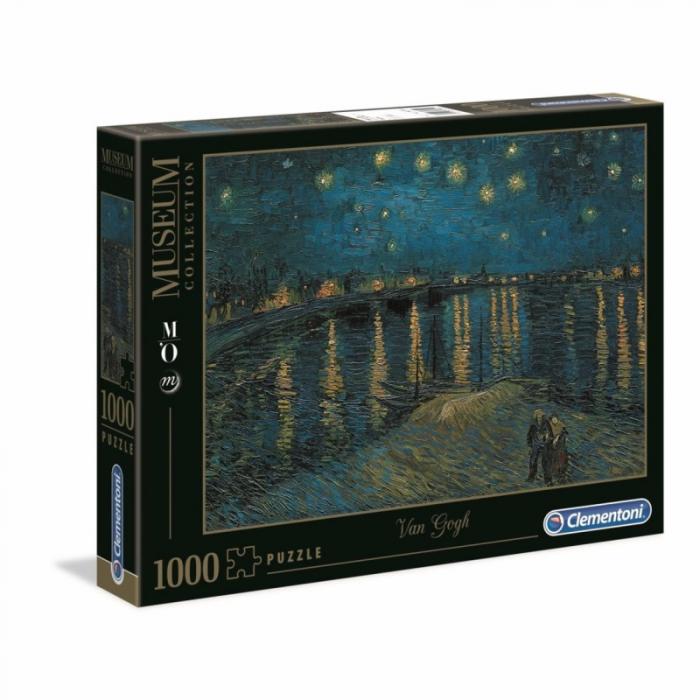 """Puzzle Clementoni """"Van Gogh - Noapte instelata pe Rhone"""", 1000 piese, dimensiuni 69 x 50 cm [0]"""