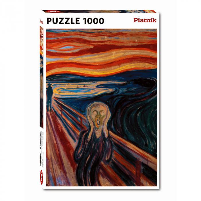 """Puzzle Piatnik """"Edvard Munch - The scream"""", 1000 piese, dimensiune 68 x 48 cm, produs in Austria 0"""
