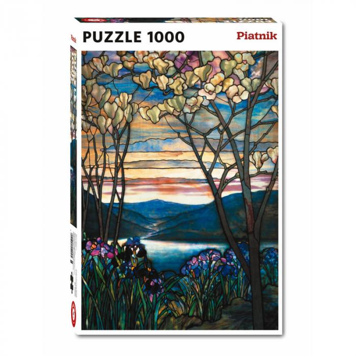 """Puzzle Piatnik """"Tiffany - magnolii si irisi"""", 1000 piese, dimensiune 68 x 48 cm, produs in Austria 0"""