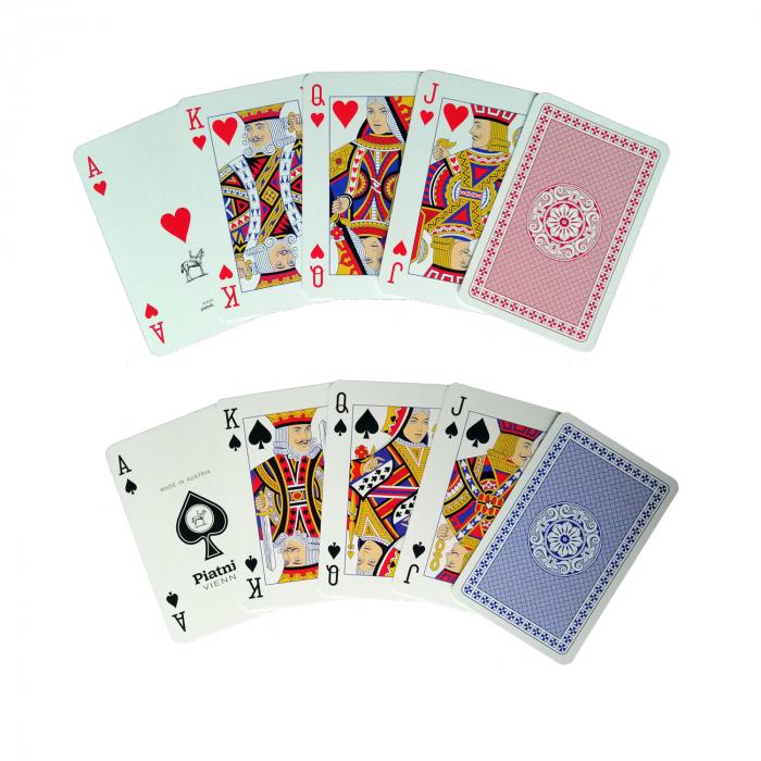 """Set carti de joc Piatnik """"CLASSIC"""", 2 pachete a 55 de carti, unul rosu, celalalt albastru, fabricate in Austria 1"""