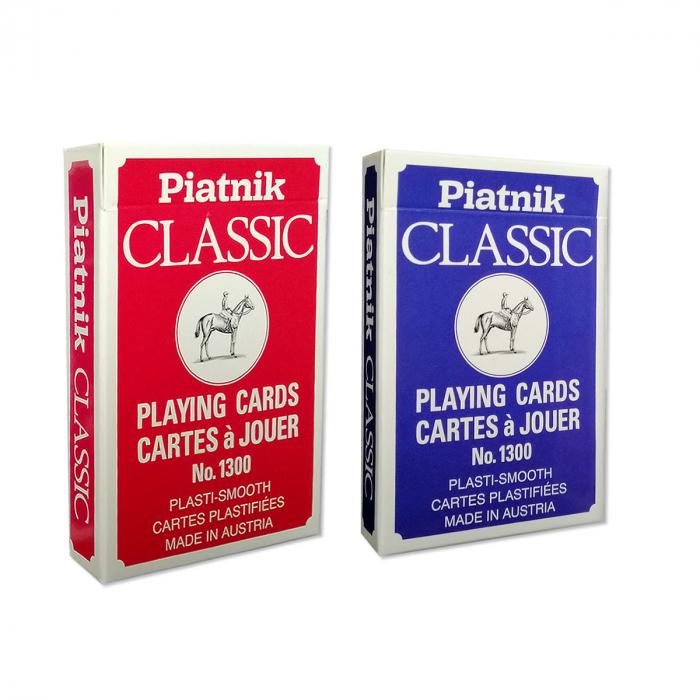"""Set carti de joc Piatnik """"CLASSIC"""", 2 pachete a 55 de carti, unul rosu, celalalt albastru, fabricate in Austria 0"""