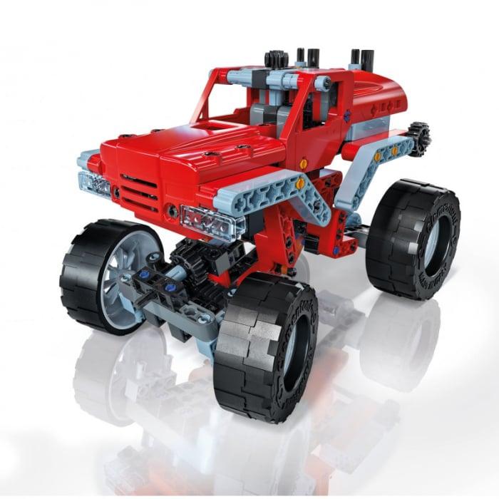 Set constructie Clementoni, Laboratorul de mecanica - Monster Truck, 10 modele posibile, 200 piese, pentru copii de peste 8 ani 3