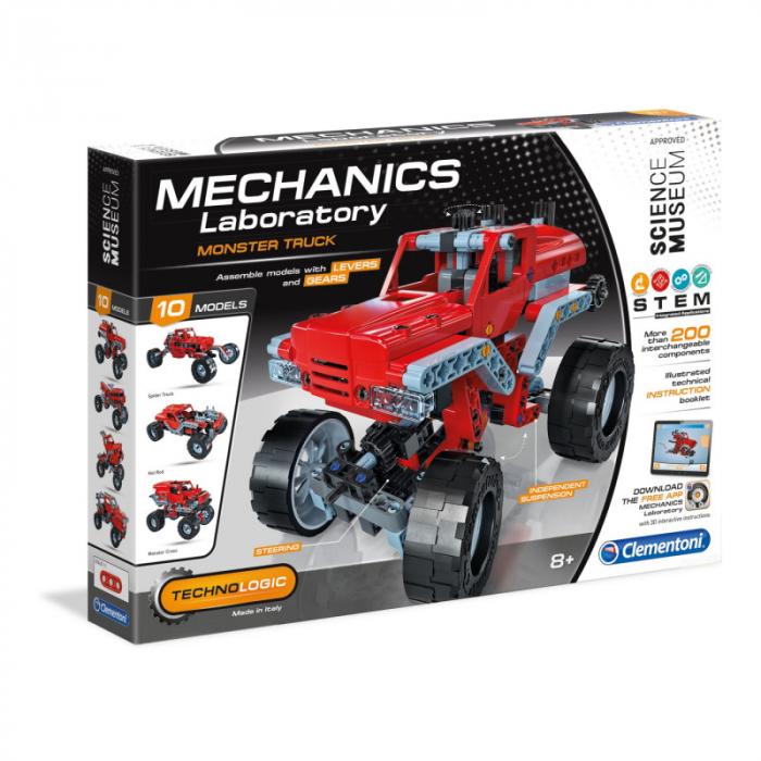 Set constructie Clementoni, Laboratorul de mecanica - Monster Truck, 10 modele posibile, 200 piese, pentru copii de peste 8 ani [0]