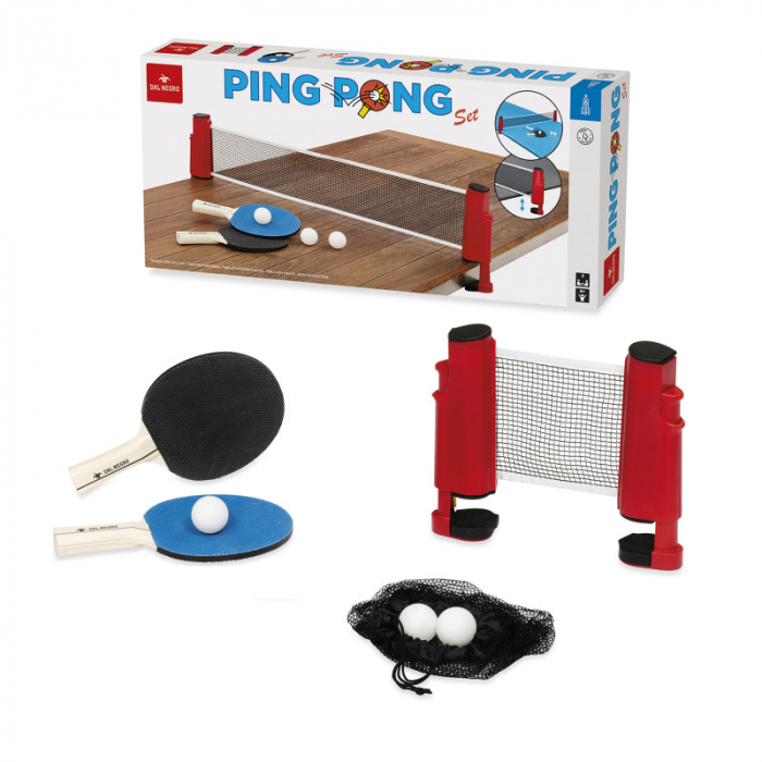 Set Ping Pong universal, 1 fileu cu montaj rapid pe orice masa, 2 palete, 3 mingii, plasa transport 0