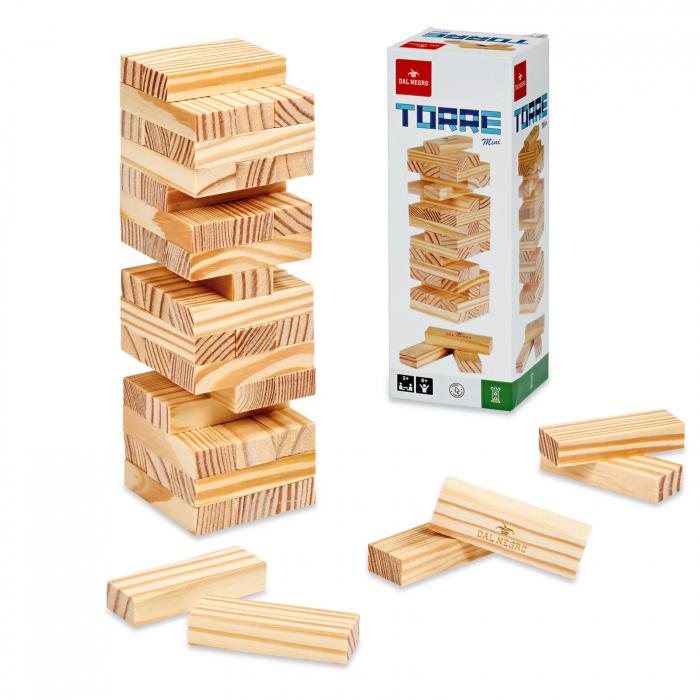 Joc Turnul Instabil Mini, din lemn, versiunea compacta, 48 de piese, inaltime 19.5 cm [0]