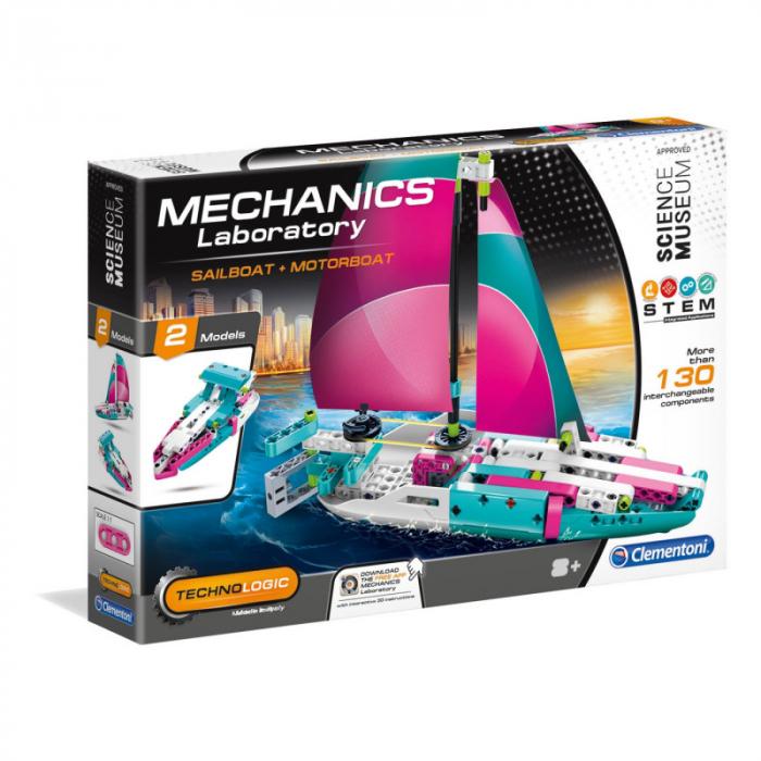 Set constructie Clementoni, Yacht si Speed Boat, 130 piese, 2 modele posibile, pentru copii de peste 8 ani 0