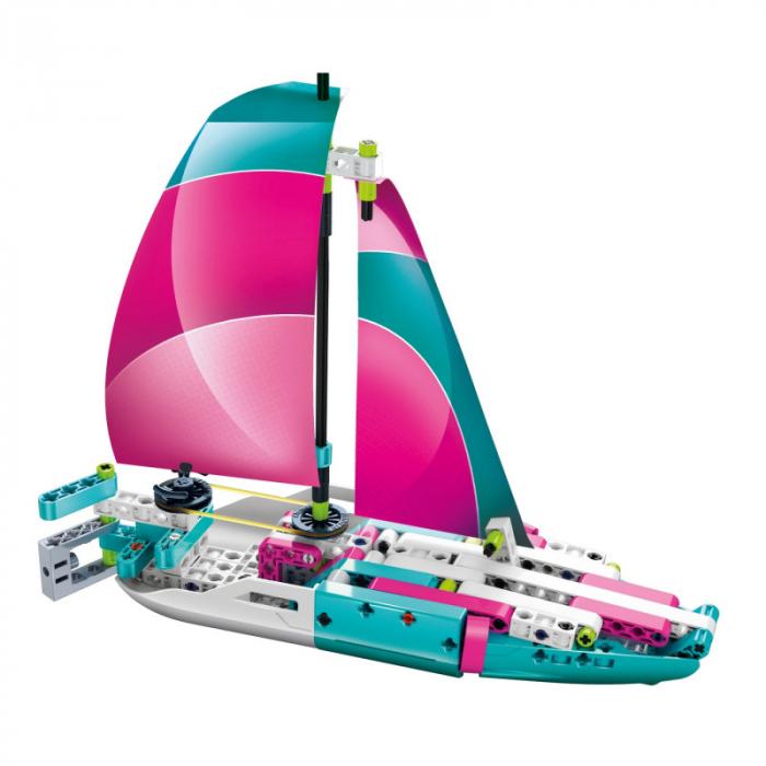 Set constructie Clementoni, Yacht si Speed Boat, 130 piese, 2 modele posibile, pentru copii de peste 8 ani 2