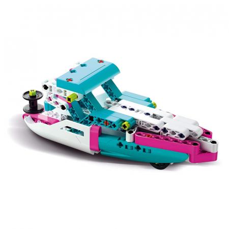 Set constructie Clementoni, Yacht si Speed Boat, 130 piese, 2 modele posibile, pentru copii de peste 8 ani1