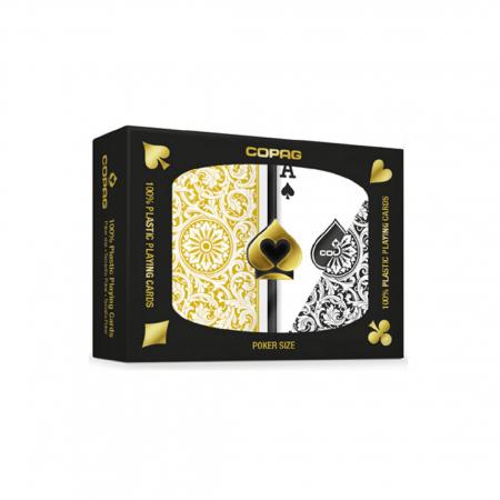 Set carti de joc Copag 1546 (Brazilia), 100% plastic, 2 pachete, auriu si negru, in cutie de plastic [0]