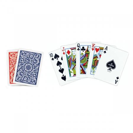 Set carti de joc Copag 1546 (Brazilia), 100% plastic, 2 pachete, rosu si albastru, in cutie de plastic [1]