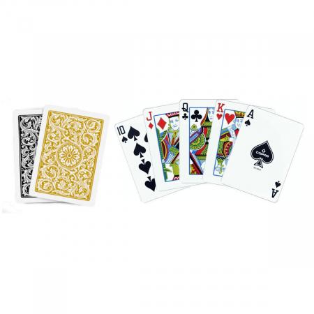 Set carti de joc Copag 1546 (Brazilia), 100% plastic, 2 pachete, auriu si negru, in cutie de plastic [1]