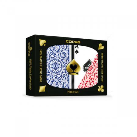 Set carti de joc Copag 1546 (Brazilia), 100% plastic, 2 pachete, rosu si albastru, in cutie de plastic [0]