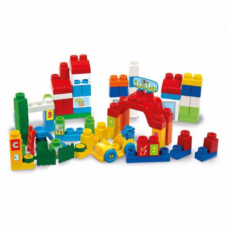 """Set constructie creativ, Clementoni (Italia), """"Clemmy Plus"""", 80 cuburi soft, pentru copii de peste 18 luni [2]"""