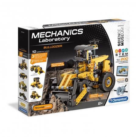 Set constructie Clementoni, 10 in 1, Laboratorul de mecanica - Buldozer, 200 piese, pentru copii de peste 8 ani [0]